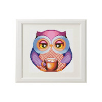 Owl Cross Stitch owl funny Multicolored Cross stitch pattern modern funny cross stitch art Bird Cute cross stitch pattern kitchen decor