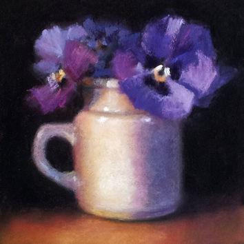 Emma's Pansies 6 x 6 Original Pastel Painting by LittletonStudio