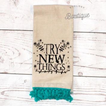 Try New Things Linen Hand Towel