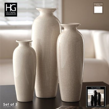 Hosley's Set of 3 Crackle Ivory Ceramic Vases in Gift Box