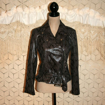Vegan Leather Jacket Faux Snakeskin Reptile Punk Rocker Biker Chick Offset Zipper Crop Jacket Edgy Jacket Small Medium Womens Clothing
