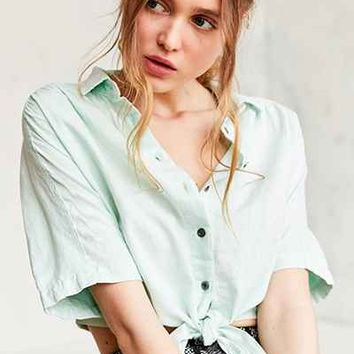 BDG Jean Tie-Front Blouse - Urban Outfitters