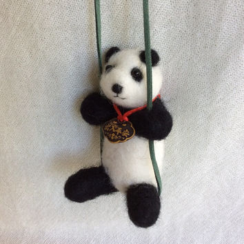 Needle felted Panda needle felting animal Bear swing sculpture felting unique gift one of a kind fiber art cute figurine OOAK girl felt doll