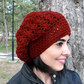 Crochet Hat - Slouch Hat- Crochet Beanie Hat - Womens hat - chunky knit Burgundy Beanie Fall Winter Accessories Autumn Fashion