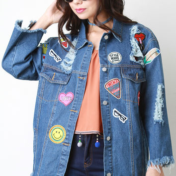Patch Distressed Boxy Denim Jacket