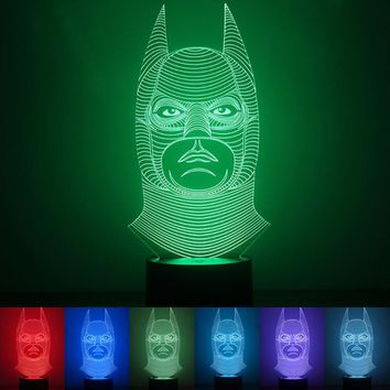 Colorful Batman Mermaid Shape USB 3D Night Lights 1.5W LED Household Lamp Table Desk Light Plastic/Wooden Base Lamps