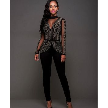 2017 Fall Luxury Bandage Jumpsuit Bodycon Bodysuit Black Sexy One Piece Mesh Perpsective Backless Overalls Sequins Beaded