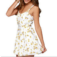 Sweet Chiffon Floral Print Sleeveless Pleated Short Casual Dress