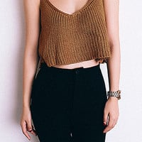 Camel Knitted Crop Top