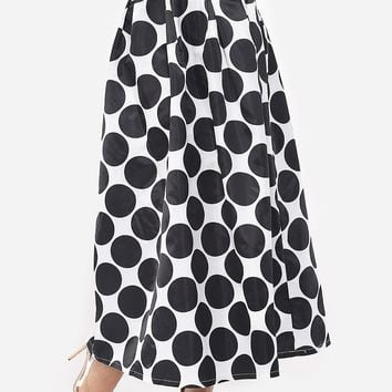 Streetstyle  Casual Polka Dot Courtly Maxi-skirt