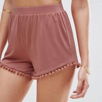 ASOS Shorts with Pom Pom Hem at asos.com