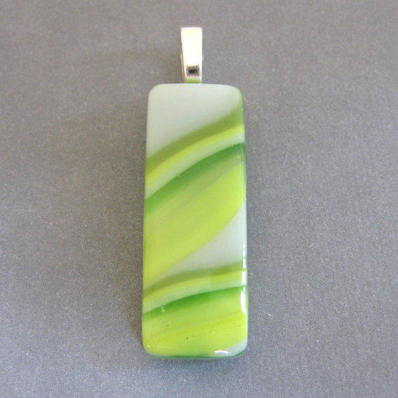 Glass Pendant, Green and Yellow Striped Glass Slide, Large Silver Bail - Meltaway - 3846