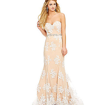 Jodi Kristopher Strapless Lace Overlay Trumpet Gown - White/Peach