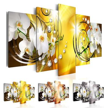5 Pcs/set Diamond Pearl Orchid Flowers Wall Art Decoration Abstract Modern Flowers Canvas Painting Gifts for Love,Choose Color A