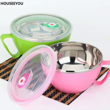 Stainless Steel Lunch Food Container Tableware Metal Glass Soup Salad Plate Termos Food Rice Bowl Soup Packaging Dining Supplies