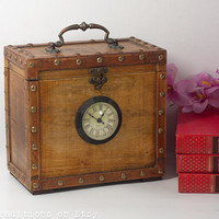 Clock Box / Wooden Mantel Clock / Large Chest / Storage Box, Rustic Home Decor, Large Wooden Box with a Clock