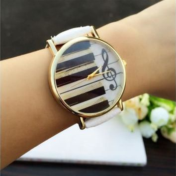 Charm Piano keyboard notes Style Leather Bracelet Quartz Watch Gifts [8322971713]