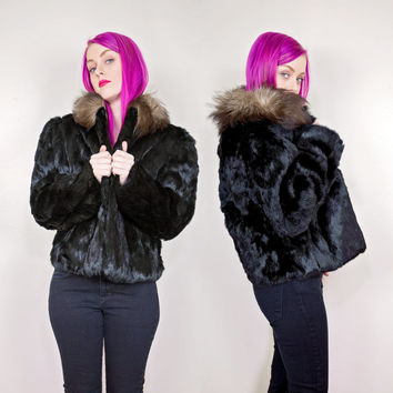 vintage black rabbit fur coat / real rabbit fur jacket / 80s 90s fur coat small medium