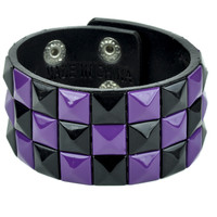 Black and Purple Pyramid Stud Wristband Gothic Jewelry Bracelet