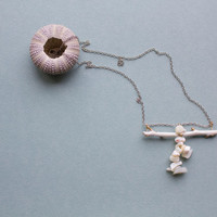 Mother of pearl pendant - Tree branch necklace - Long white necklace - Wood pendant