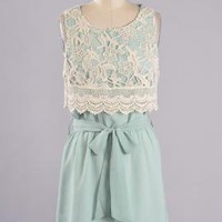 Afternoon Tea Crochet Lace Insert Chiffon Dress in Mint | Sincerely Sweet Boutique