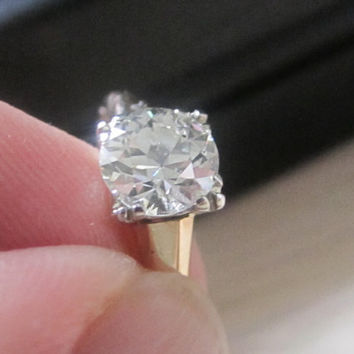 Antique Vintage  1.25 ct Old European Cut Diamond Engagement Wedding Ring 14 kt-18 kt Two Tone Gold Valentines Day Bridal Jewelry