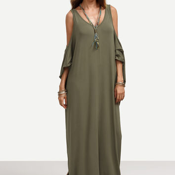 Army Green Cold Shoulder Backless Maxi Dress | MakeMeChic.COM