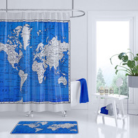 Cobalt Blue World Map Shower Curtain - blue and gray travel decor world map bathroom - geography