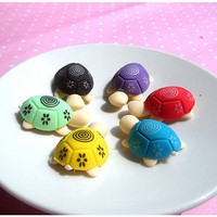4pcs NEW Colorful Turtle Shape Cleansing Rubber Eraser Stationary Kid Gift