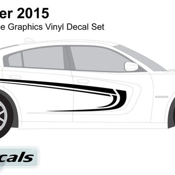 Dodge Charger 2015 Tribal Tattoo Racing Side Graphics Vinyl Decal Set