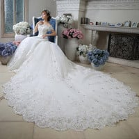 Wedding Dresses 2016 Bridal Gowns Luxury Beaded Sequins Bodice Boat Neck  White Arab Cathedral Train vestidos novia