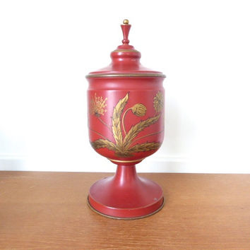 Red toleware urn with gold flowers, can be turned into a lamp
