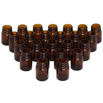 Brockway 15 mL / 15 cc / .5 oz Wide Mouth Round Amber Glass Bottle (24, 15 mL)