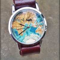 World map watches wrist watch ,men watch  Leather watch | Mens watch | Womens watch | Gift for him | Unisex watch | Stainless steel watch