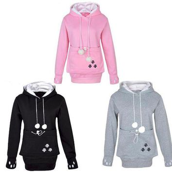 PEAPON Cat Lovers Hoodies With Cuddle Pouch Dog Pet Hoodies For Casual Kangaroo Pullovers With Ears Sweatshirt Drop Shipping Cospaly