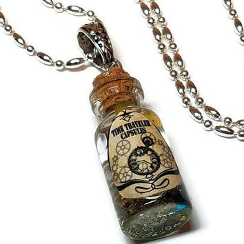 Time Traveler Capsules, Steampunk Gears in a Bottle Necklace, Steampunk Bottle Jewelry, Time in a Bottle