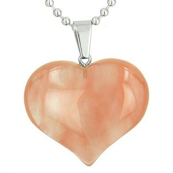 Amulet Large Puffy Heart Lucky Charm in Cherry Quartz Gemstone Good Luck Powers Pendant ecklace