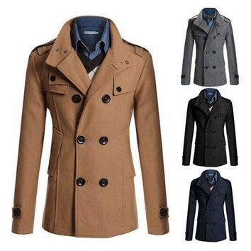 2015 Fashion Men's Winter Coat Turn-down Collar Wool Blends Warm Men's Thick Coat Double Breasted Winter Overcoat For Male
