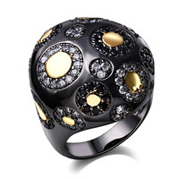 Romantic Rings for women Big Ball Shape Black Gold Plated with AAA Cubic Zircon Stone Bohemia Style Nice Jewelry Free shipment