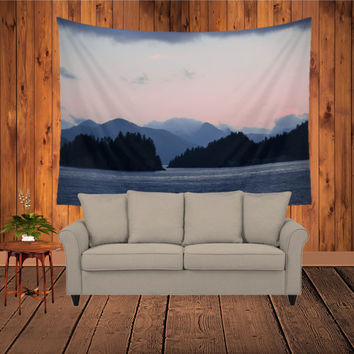 Wall Tapestry - 'Ocean Blue Mist' - Home Decor - Wall Decor, Modern, Home Warming Gift, Symmetry, Bohemian, Boho, Scenery, Nature, Ocean