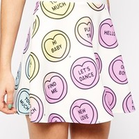 Ichiban Mini Skater Skirt With All Over Love Heart Valentines Print Co-Ord