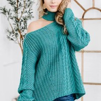 Blue Knitted Cold Shoulder Sweater