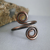 Copper Ring Metalwork Hammered Oxidized Copper Spiral Design Rustic Jewelry Simple Boho Ring Metalwork Jewelry Spiral Ring Handcrafted