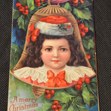 Christmas Postcard, Francis Brundage Postcard, Brundage Christmas Postcard, Bell and Child Postcard, Antique Postcards, Postcards, Christmas