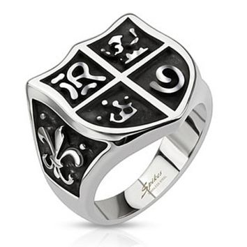 Medieval Shield and Fleur de Lis Wide Cast Ring Stainless Steel