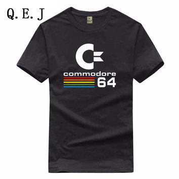 Q.E.J  Summer Commodore 64 T Shirts C64 SID Amiga Retro 8-bit Ultra Cool Design Vinyl T-shirt Mens Clothing With Short Sleev