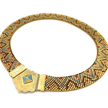 Art Deco Nouveau Egyptian Revival Choker Necklace, Enameled Gold Tone Mesh, Etched Center Piece, Vintage Statement Collar, 1930s - 1940s