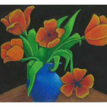 Flower Art, Still Life Art Print of Original Oil Pastel Painting, 8.5 x 11, Colorful Flower Still Life