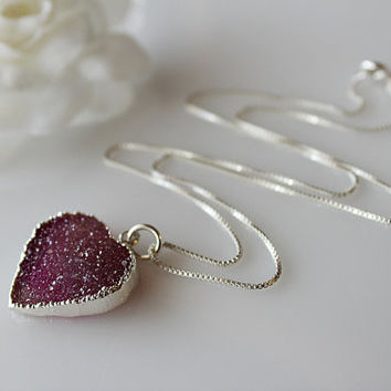 Purple Heart Druzy Necklace, 925 Sterling Silver, Violet Purple, Fuschia, Orchid purple, Sterling Box chain, Valentine Gift