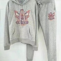 """Adidas"" Women Flame Letter Logo Embroidery Thickened Long Sleeve Hooded Sweater Trousers Set Two-Piece Sportswear"